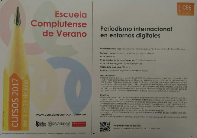 Escuela Complutense de Verano - Periodismo internacional en entornos digitales